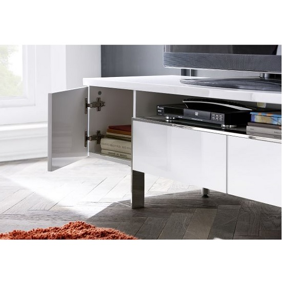 Alessa TV Stand In White High Gloss With 2 Doors and 2 Drawers_4