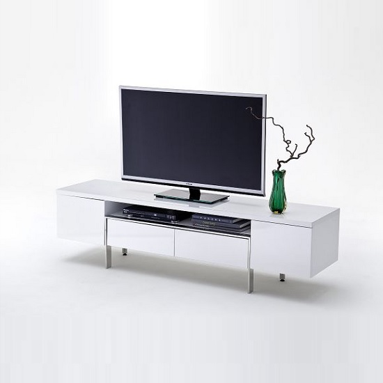 Alessa TV Stand In White High Gloss With 2 Doors and 2 Drawers_1