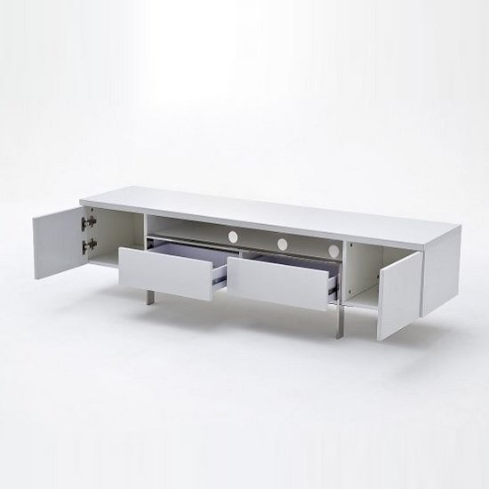 Alessa TV Stand In White High Gloss With 2 Doors and 2 Drawers_2