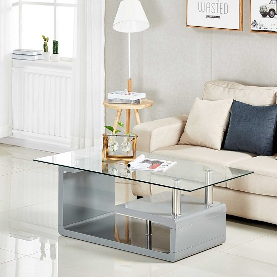 Alessia Glass Coffee Table In Clear And High Gloss Grey