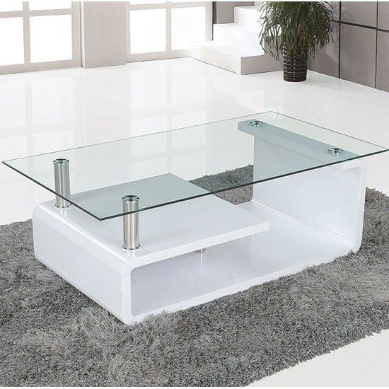 Alessia Glass Coffee Table In Gloss White With Undershelf_1