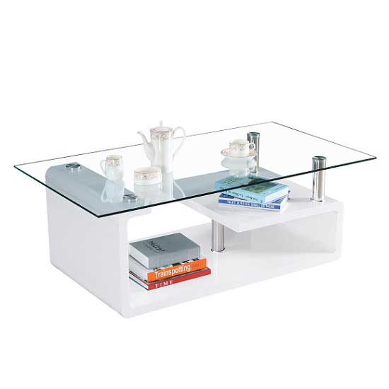 Alessia Glass Coffee Table In Gloss White With Undershelf_2