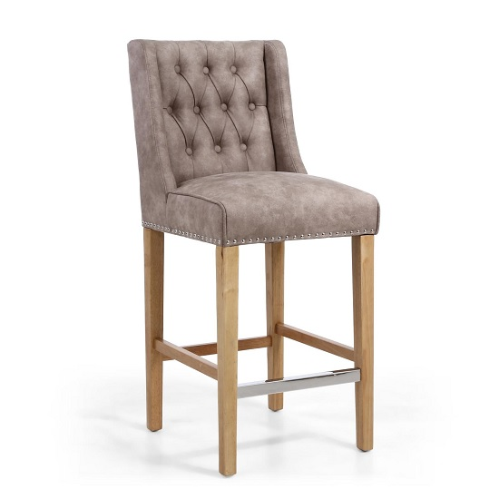 Alessio Suede Effect Bar Chair In Beige With Natural Wooden Legs