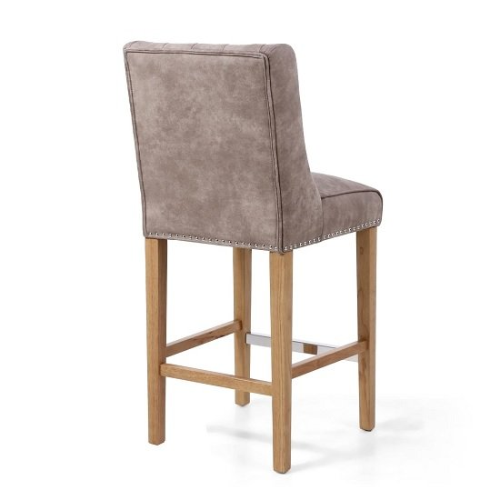 Alessio Suede Effect Bar Chair In Beige With Natural Wooden Legs_2
