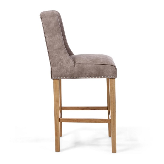 Alessio Suede Effect Bar Chair In Beige With Natural Wooden Legs_3