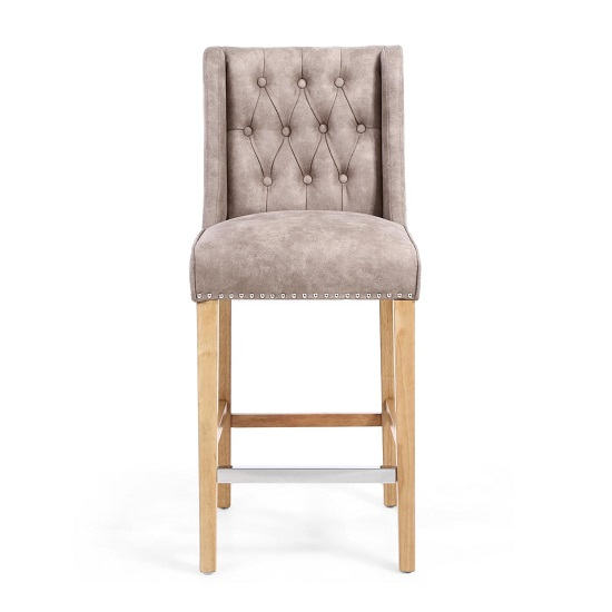 Alessio Suede Effect Bar Chair In Beige With Natural Wooden Legs_4