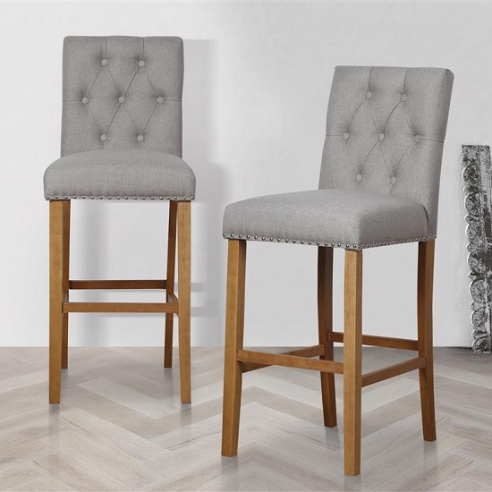 Product photograph showing Alessio Bar Stools In Wheat With Wooden Legs In A Pair