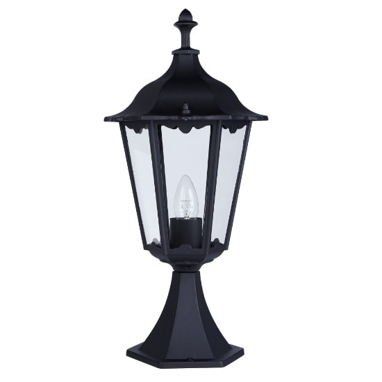 Alex Outdoor Post Lamp In Black With Clear Glass
