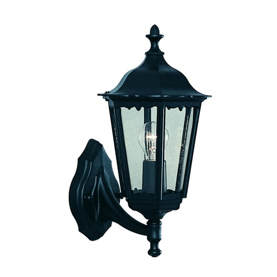 Alex Outdoor Wall Light In Black With Clear Glass
