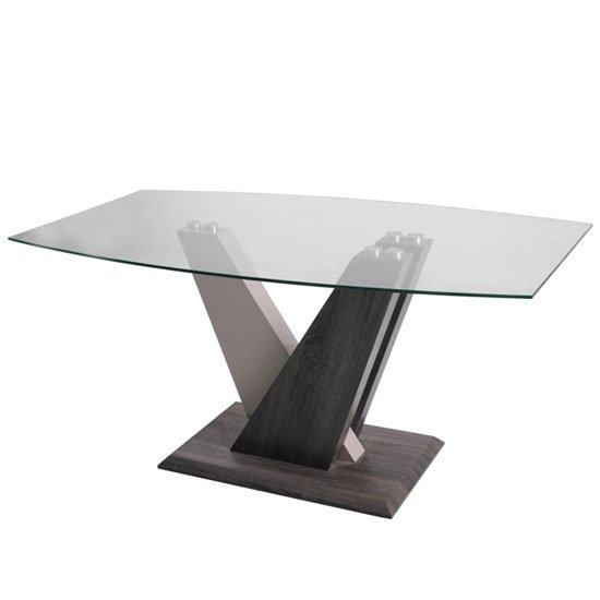 Alexa Glass Dining Table In Dark Grey And Champagne High Gloss