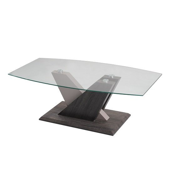 Alexa Glass Coffee Table In Dark Grey And Champagne High Gloss