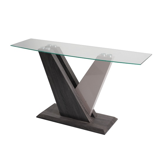 Alexa Glass Console Table In Dark Grey And Champagne High Gloss