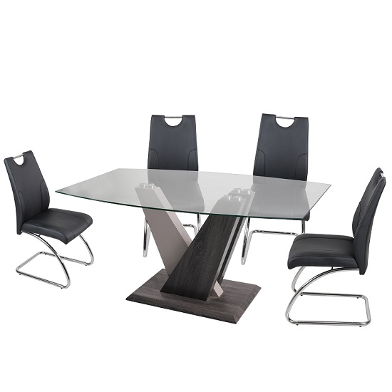 Alexa Glass Dining Table Rectangular With 4 Eva Black Chairs