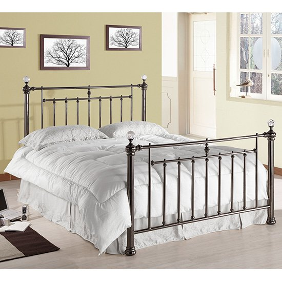 Alexander Black Metal King Size Bed With Crystal Finials
