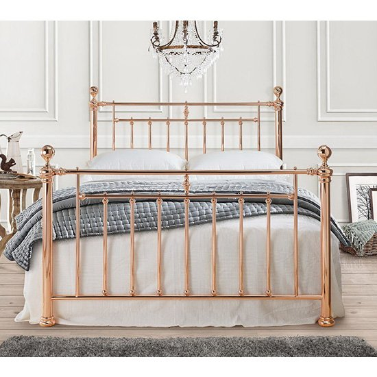 Alexander Metal Double Bed In Rose Gold_2