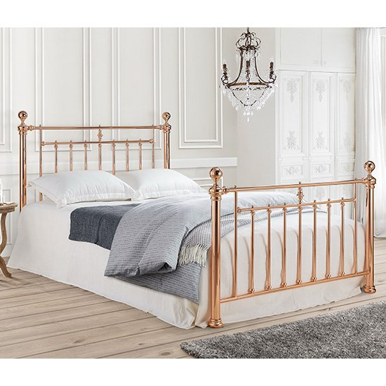 Alexander Metal Double Bed In Rose Gold_1