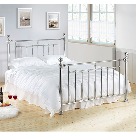 Alexander Metal King Size Bed In Chrome