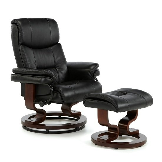 Alexandra Swivel Recliner Chair In Black Faux Leather