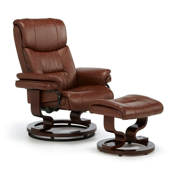 Alexandra Swivel Recliner Chair In Chestnut Faux Leather