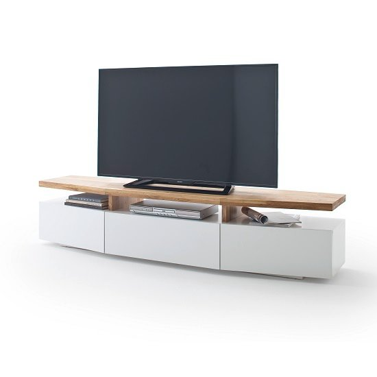 Alexia Wooden TV Stand In Knotty Oak And Matt White_4