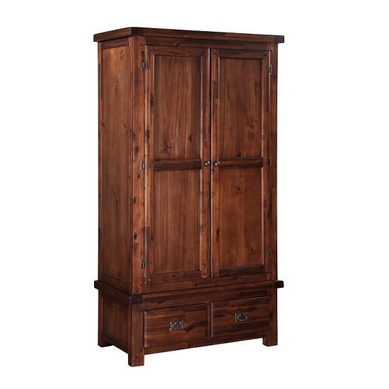 Alexis Wooden Wardrobe In Dark Acacia With 2 Doors And 2 Drawers