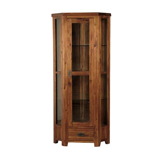 Alexis Corner Display Cabient In Dark Acacia Wood With 1 Door