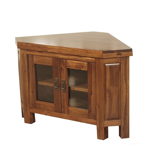 Alexis Corner TV Stand In Dark Acacia Wood With 2 Glass Doors