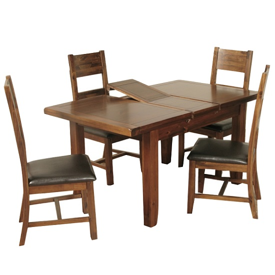 Alexis extending dining table in acacia wood 4 ladder back c - Extending wood dining table ...