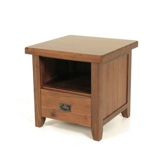 Alexis Wooden End Table Square In Dark Acacia Wood And 1 Drawer