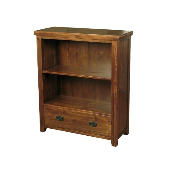 Alexis Wooden Low Bookcase In Dark Acacia Wood With 1