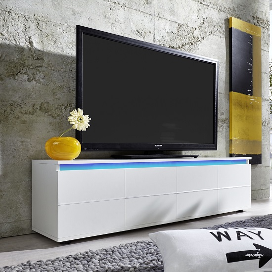 Alexis LCD TV Stand In White With Gloss Fronts And LED_2