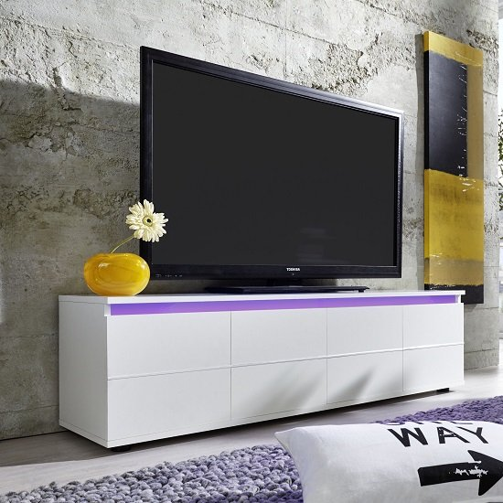 Alexis LCD TV Stand In White With Gloss Fronts And LED_3