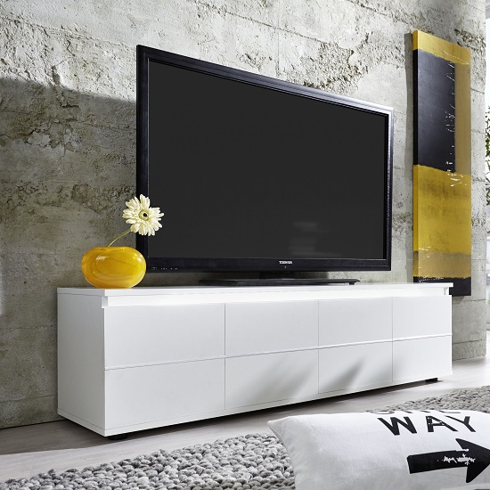 Alexis LCD TV Stand In White With Gloss Fronts And LED_4