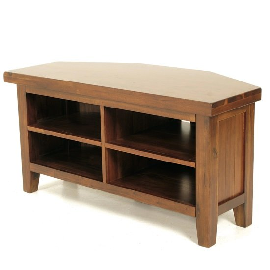 Alexis wooden corner tv stand in dark acacia wood 29953 for Furniture in fashion