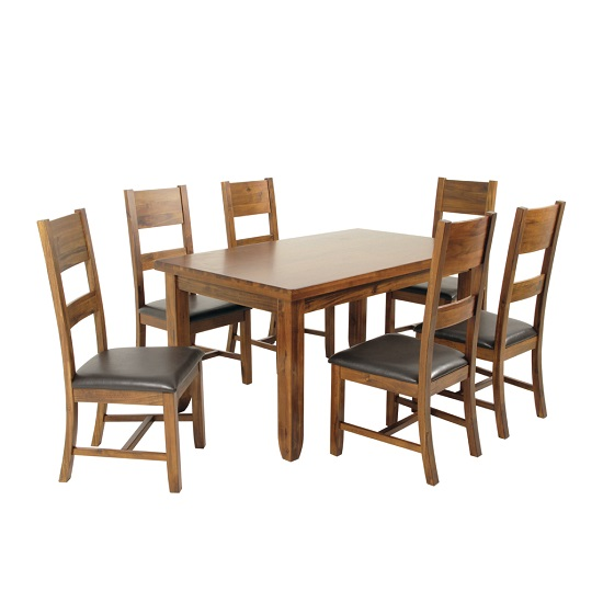 Alexis Wooden Dining Table In Acacia Wood With 6 Chairs