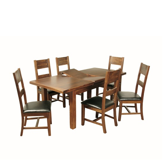 Alexis Extendable Dining Table In Acacia Wood With 6 Chairs