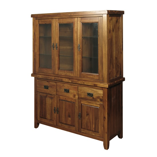 Acacia Wood Door : Alexis buffet display cabinet in dark acacia wood with