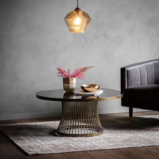 Alexxis Contemporary Glass Coffee Table In Bronze