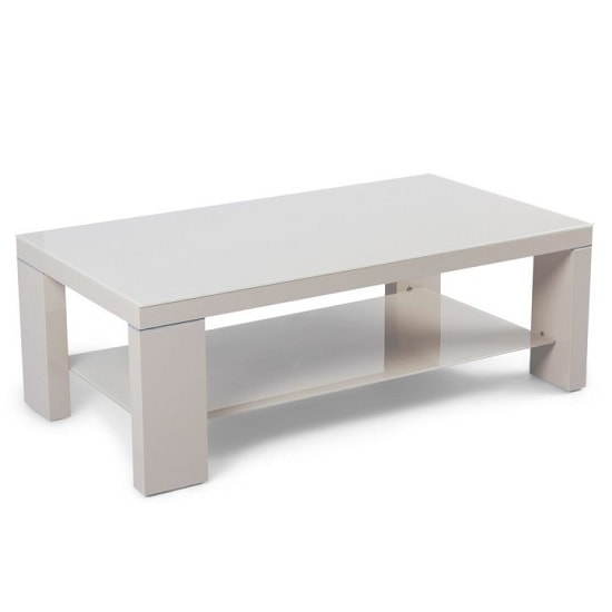 Alford Glass Coffee Table Rectangular With Cream High Gloss