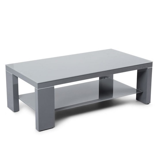 Alford Glass Coffee Table With Dark Grey High Gloss