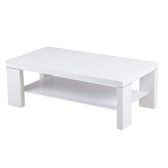 Alford Glass Coffee Table Rectangular With White High Gloss