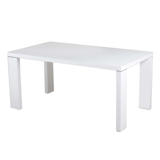 Alford Glass Dining Table Rectangular With White High Gloss