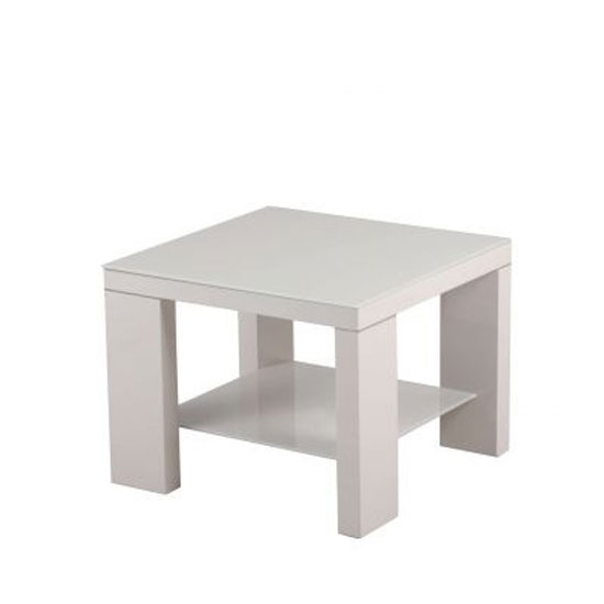 Alford Glass Side Table Square With Light Grey High Gloss