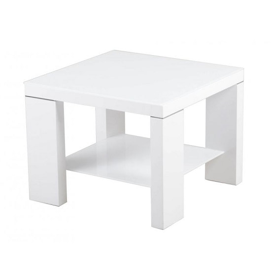 Alford Glass Side Table Square With White High Gloss