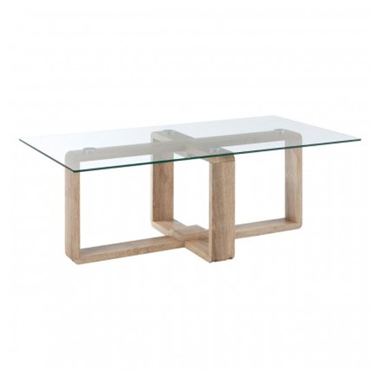 Alfratos Clear Glass Coffee Table With Natural Wooden Legs
