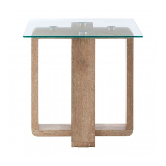 Alfratos Clear Glass Side Table With Natural Wooden Legs_2