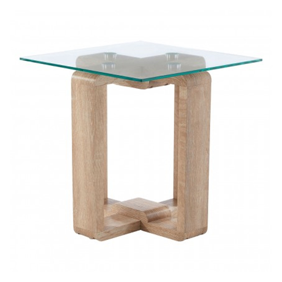Alfratos Clear Glass Side Table With Natural Wooden Legs_3
