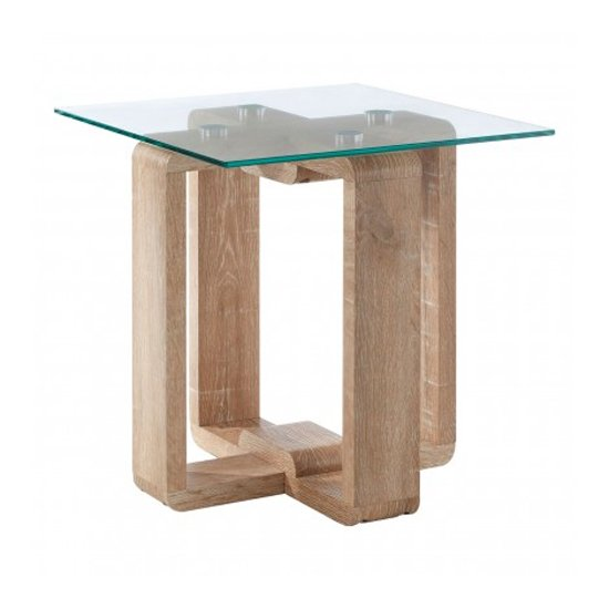Alfratos Clear Glass Side Table With Natural Wooden Legs_1