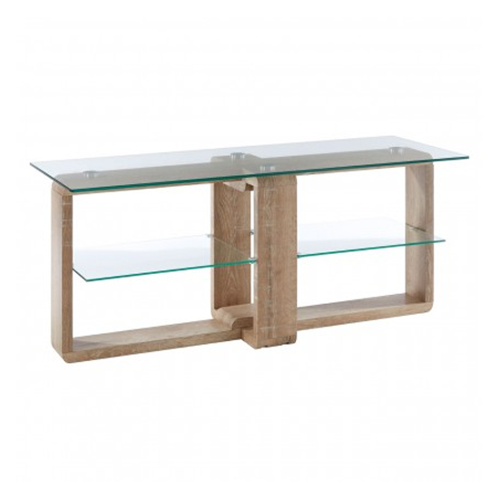 Alfratos Clear Glass TV Stand With Natural Wooden Legs