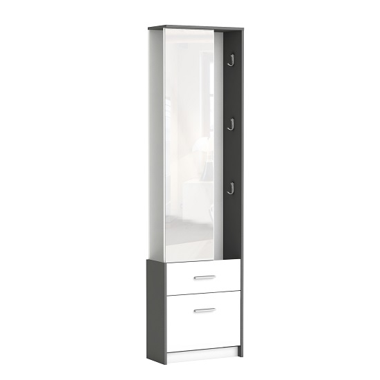 Alfred Mirrored Hallway Stand In Pearl White And Graphite Grey